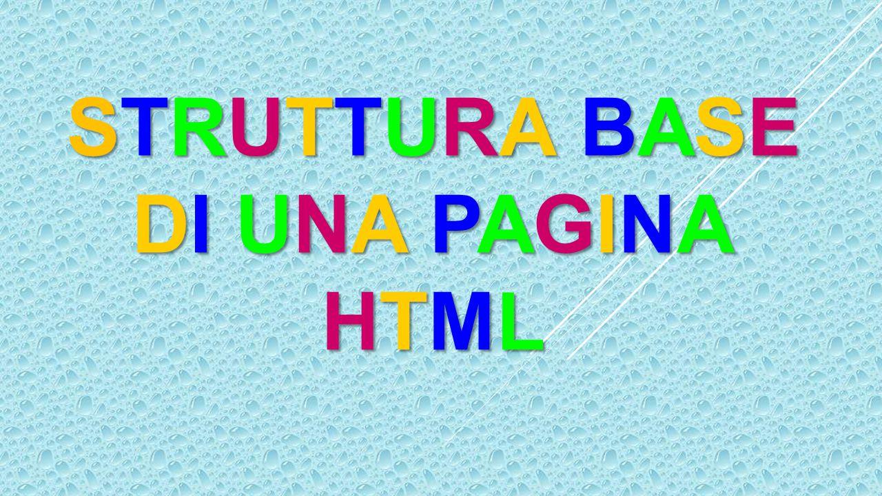 STRUTTURA BASE DI UNA PAGINA HTML