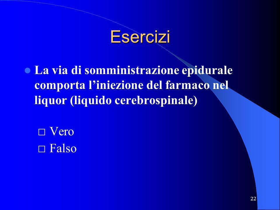 Esercizi La via di somministrazione epidurale comporta l'iniezione del farmaco nel liquor (liquido cerebrospinale) □ Vero □ Falso.