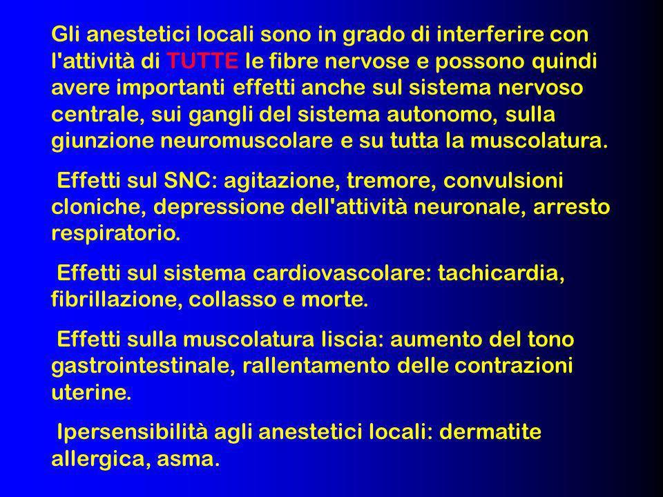 Gli anestetici locali sono in grado di interferire con l attività di TUTTE le fibre nervose e possono quindi avere importanti effetti anche sul sistema nervoso centrale, sui gangli del sistema autonomo, sulla giunzione neuromuscolare e su tutta la muscolatura.