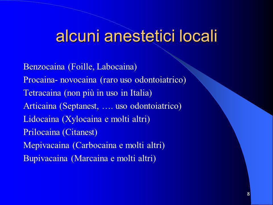 alcuni anestetici locali