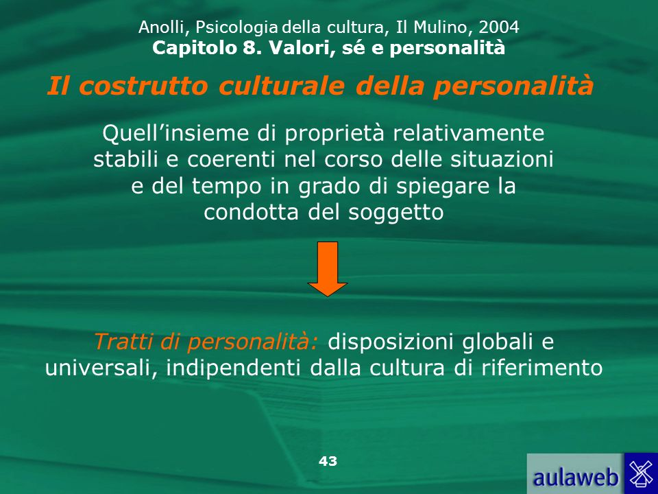 Il costrutto culturale della personalità