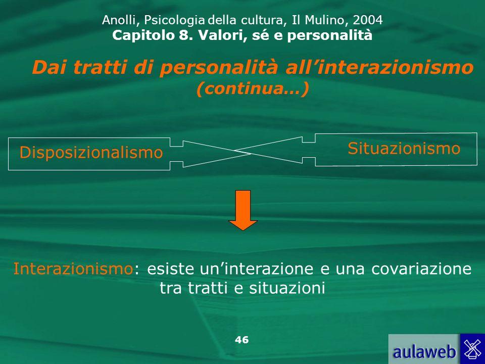 Dai tratti di personalità all'interazionismo (continua…)