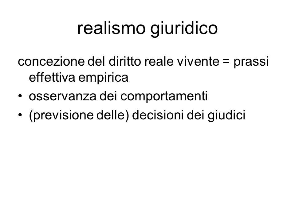 realismo giuridico concezione del diritto reale vivente = prassi effettiva empirica. osservanza dei comportamenti.