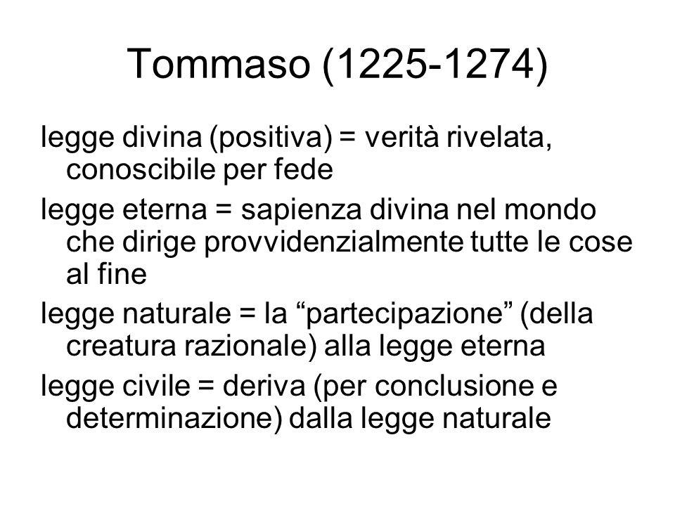 Tommaso (1225-1274) legge divina (positiva) = verità rivelata, conoscibile per fede.