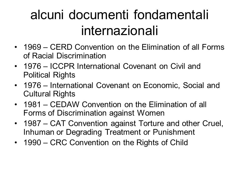 alcuni documenti fondamentali internazionali