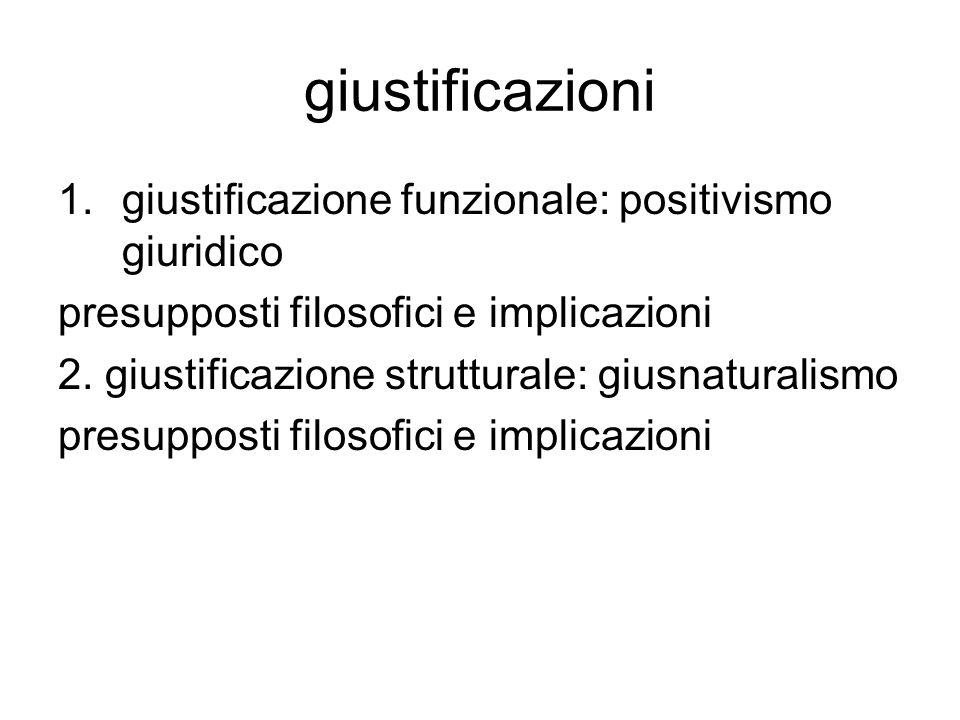 giustificazioni giustificazione funzionale: positivismo giuridico