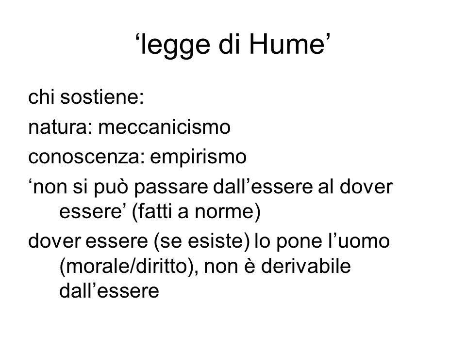 'legge di Hume' chi sostiene: natura: meccanicismo