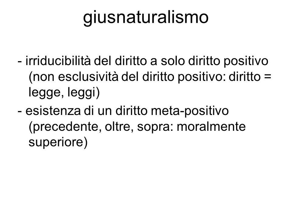 giusnaturalismo - irriducibilità del diritto a solo diritto positivo (non esclusività del diritto positivo: diritto = legge, leggi)