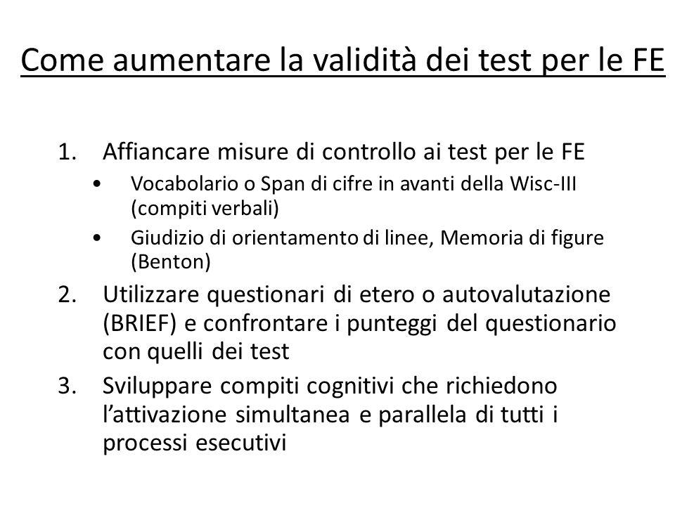 Come aumentare la validità dei test per le FE
