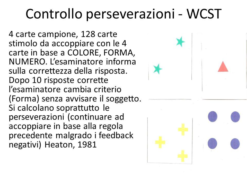 Controllo perseverazioni - WCST