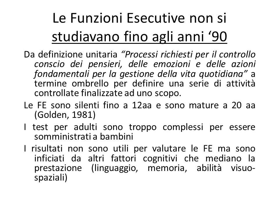 Le Funzioni Esecutive non si studiavano fino agli anni '90