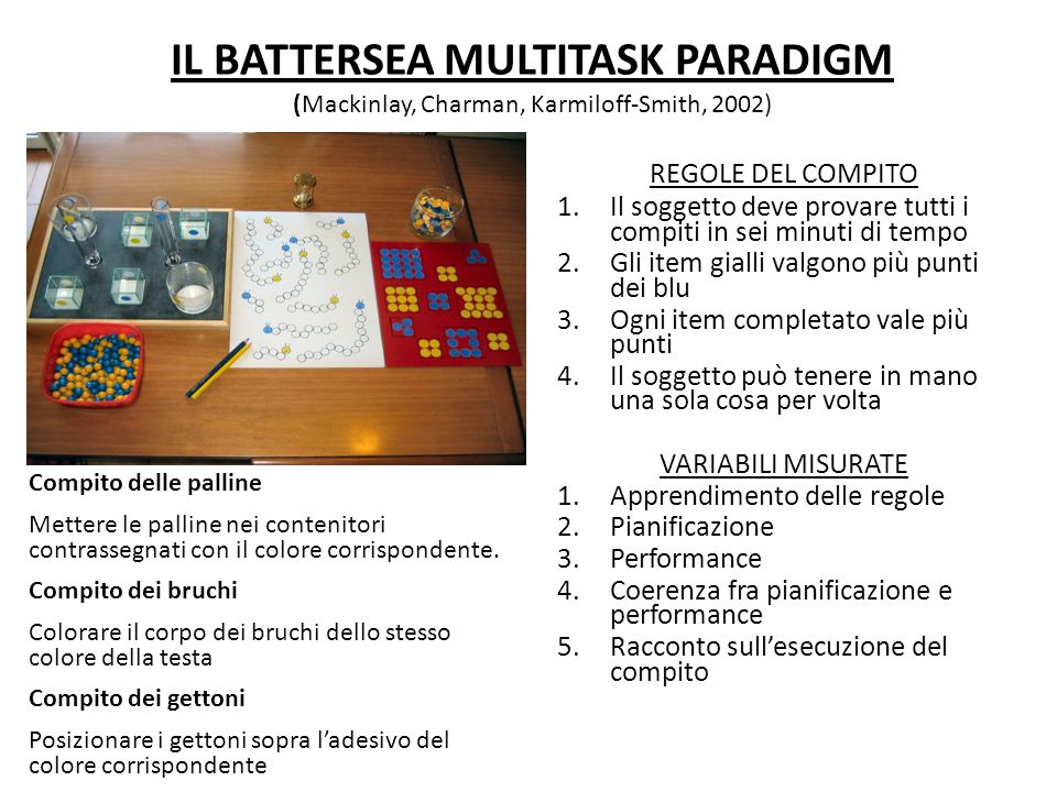 IL BATTERSEA MULTITASK PARADIGM (Mackinlay, Charman, Karmiloff-Smith, 2002)