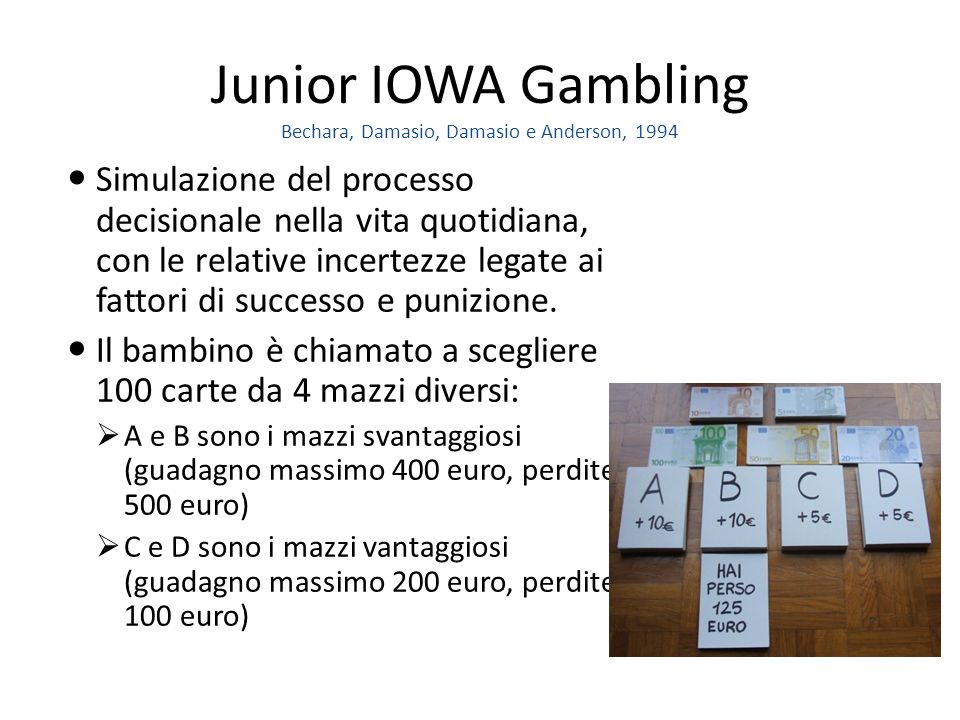 Junior IOWA Gambling Bechara, Damasio, Damasio e Anderson, 1994