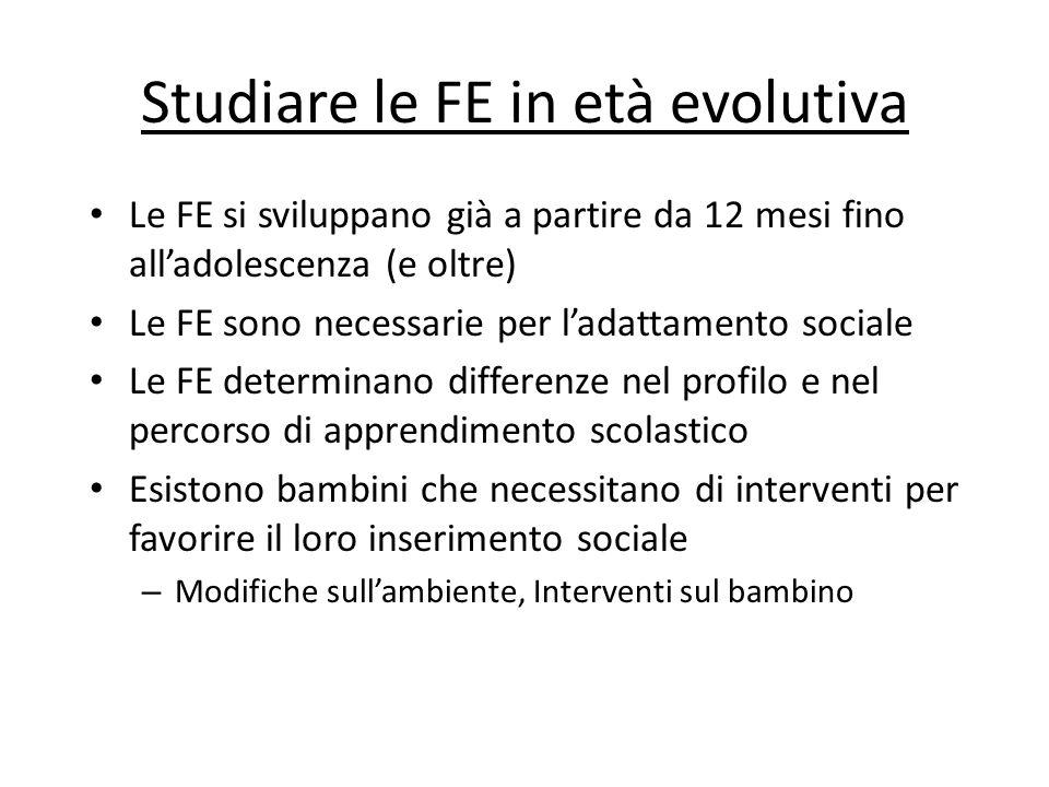 Studiare le FE in età evolutiva