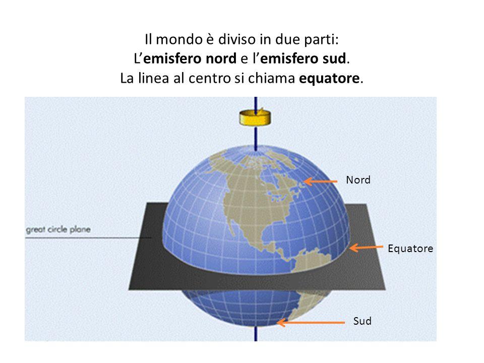 Il mondo è diviso in due parti: L'emisfero nord e l'emisfero sud