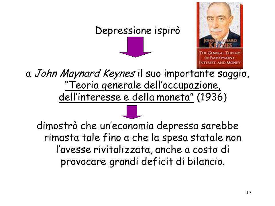 Depressione ispirò a John Maynard Keynes il suo importante saggio, Teoria generale dell'occupazione, dell'interesse e della moneta (1936)