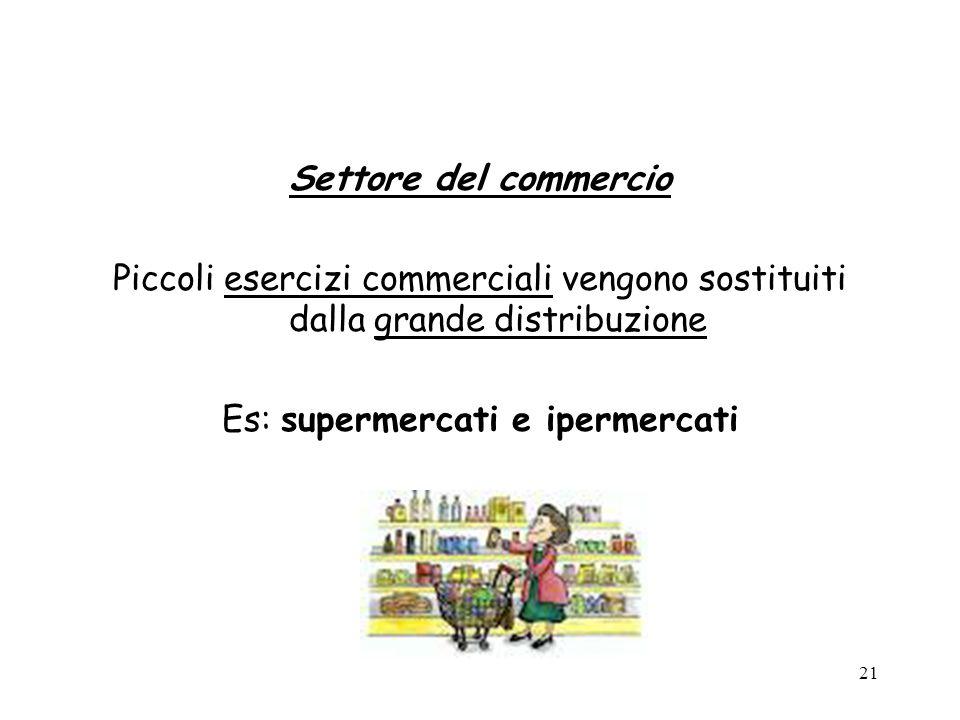 Es: supermercati e ipermercati