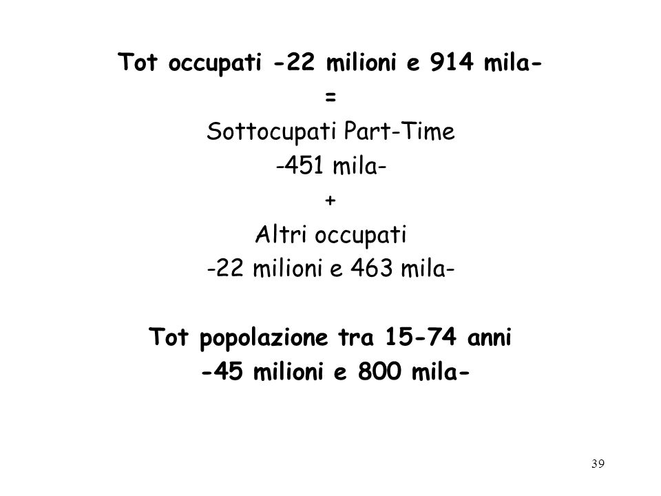 Tot occupati -22 milioni e 914 mila- Tot popolazione tra 15-74 anni