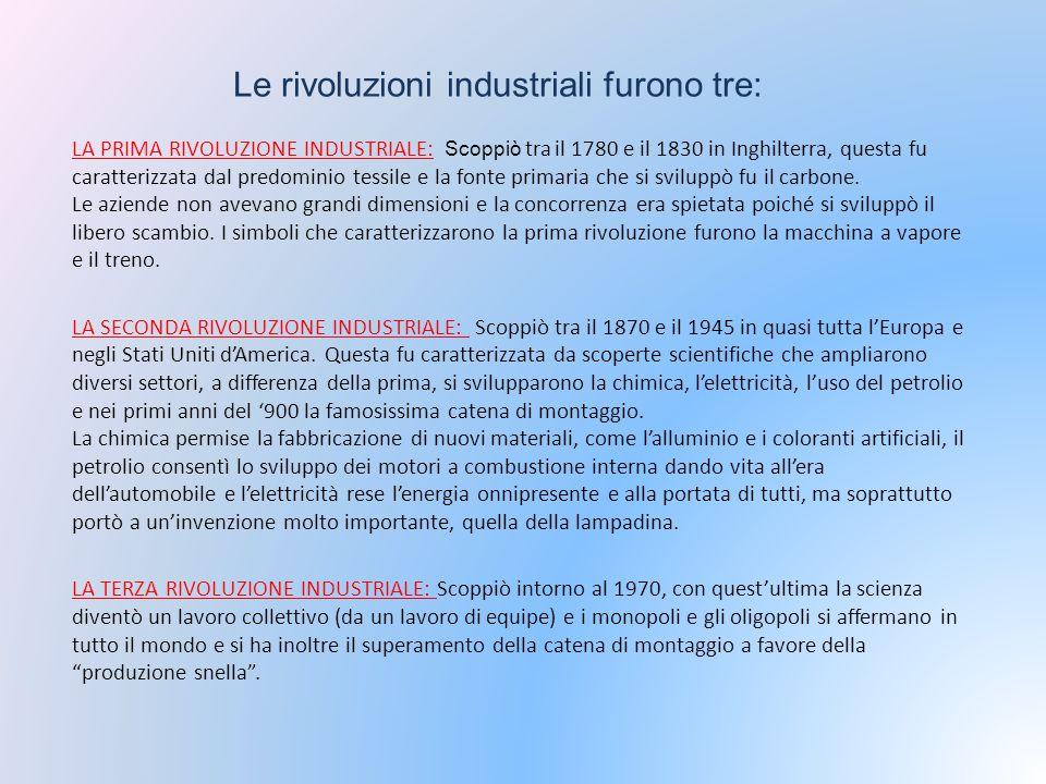Le rivoluzioni industriali furono tre: