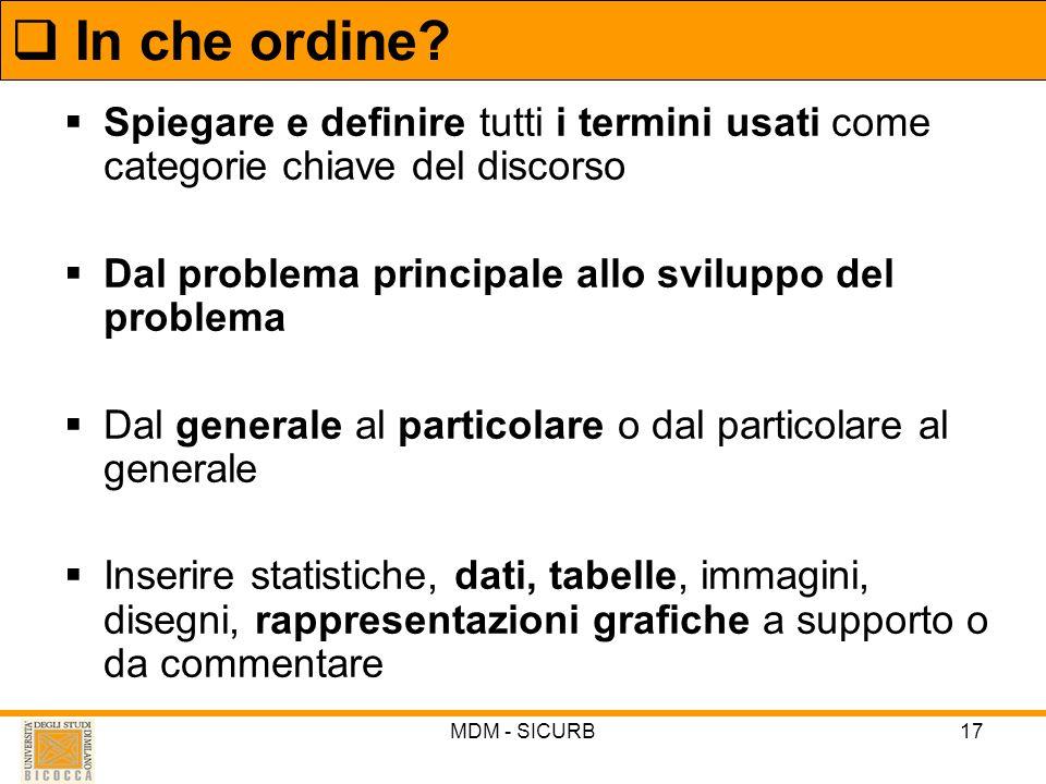 In che ordine Spiegare e definire tutti i termini usati come categorie chiave del discorso. Dal problema principale allo sviluppo del problema.