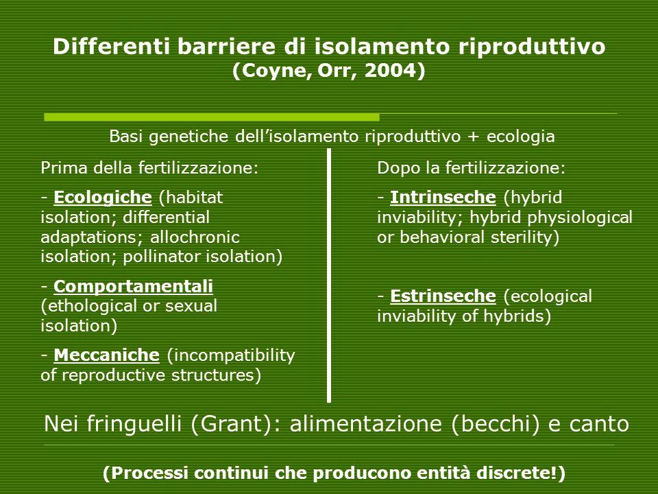 Differenti barriere di isolamento riproduttivo (Coyne, Orr, 2004)