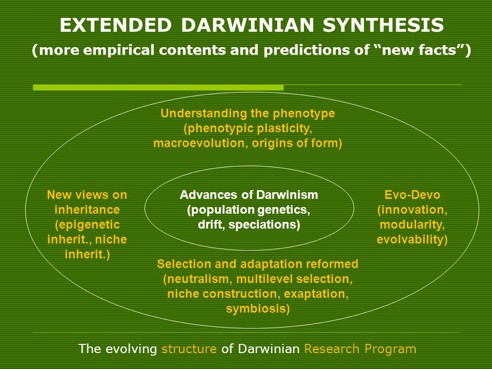 EXTENDED DARWINIAN SYNTHESIS (more empirical contents and predictions of new facts )
