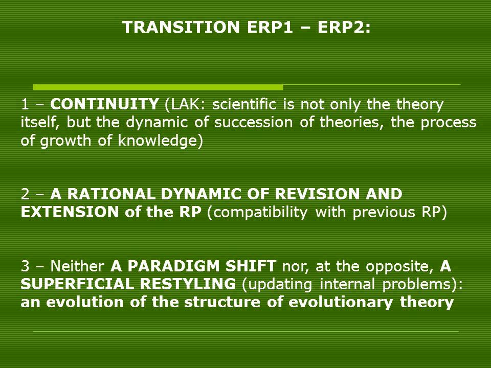 TRANSITION ERP1 – ERP2:
