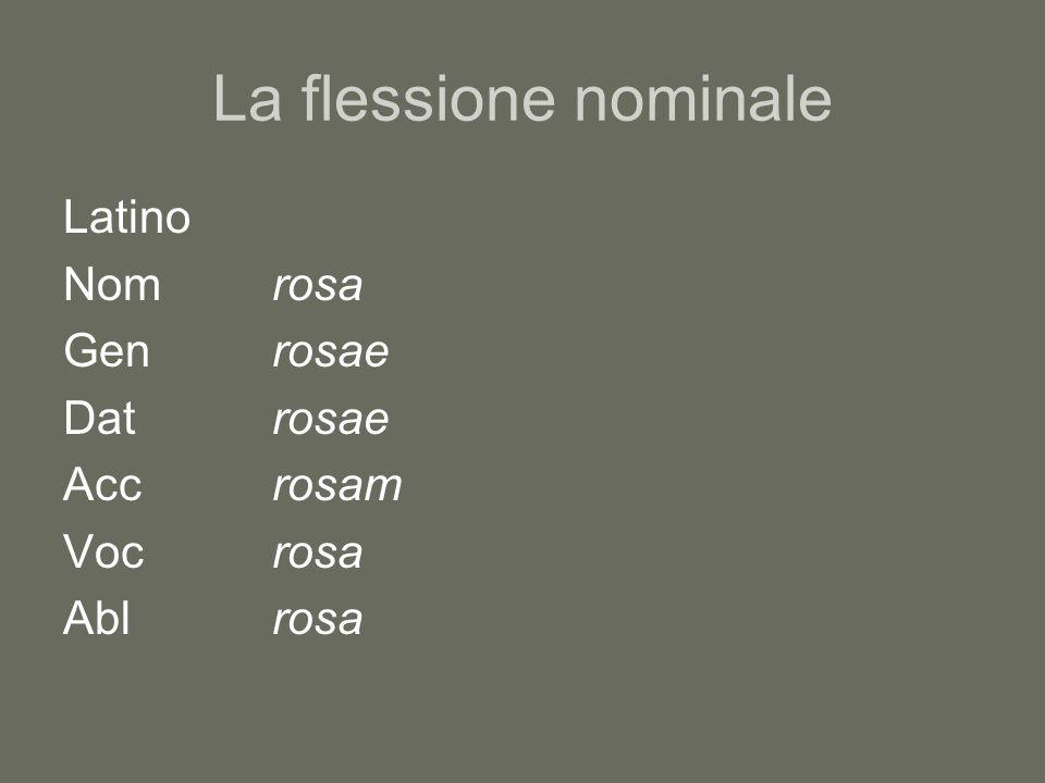 La flessione nominale Latino Nom rosa Gen rosae Dat rosae Acc rosam