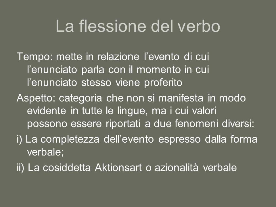 La flessione del verbo Tempo: mette in relazione l'evento di cui l'enunciato parla con il momento in cui l'enunciato stesso viene proferito.