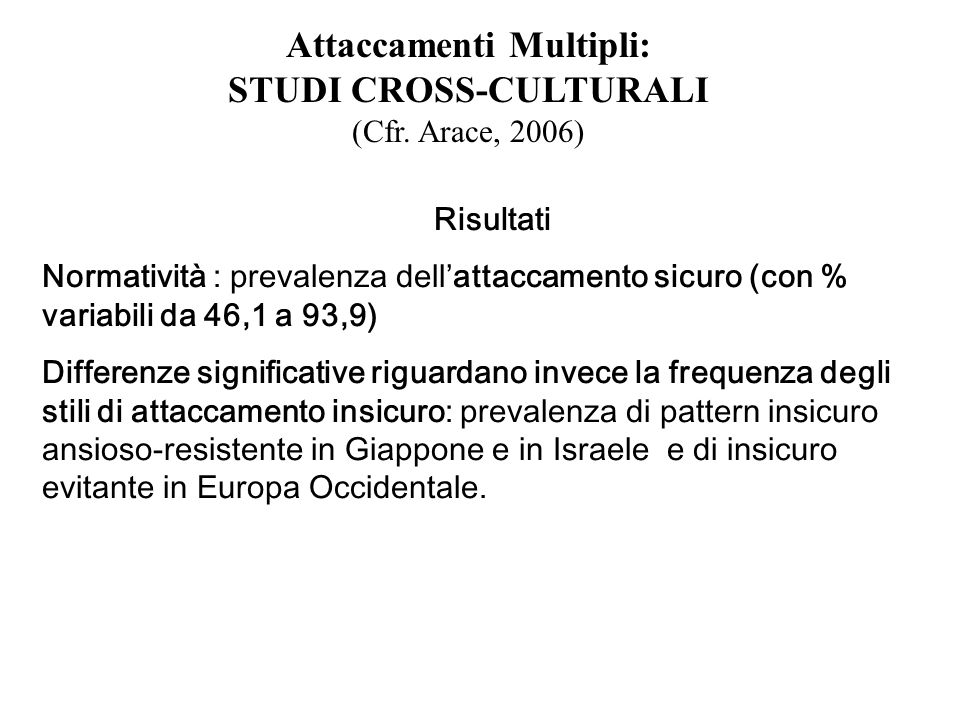 Attaccamenti Multipli: STUDI CROSS-CULTURALI (Cfr. Arace, 2006)