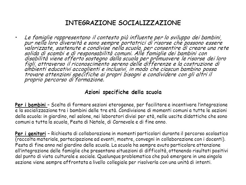 INTEGRAZIONE SOCIALIZZAZIONE