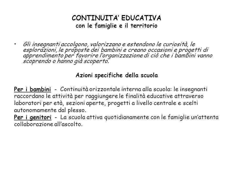 CONTINUITA' EDUCATIVA con le famiglie e il territorio