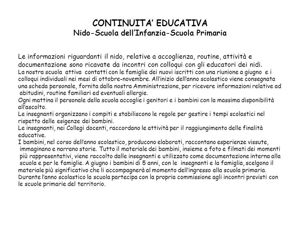 CONTINUITA' EDUCATIVA Nido-Scuola dell'Infanzia-Scuola Primaria