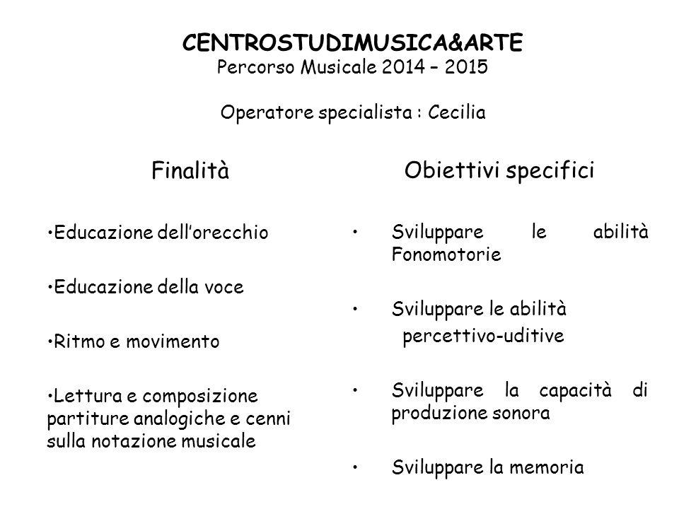 CENTROSTUDIMUSICA&ARTE Percorso Musicale 2014 – 2015 Operatore specialista : Cecilia
