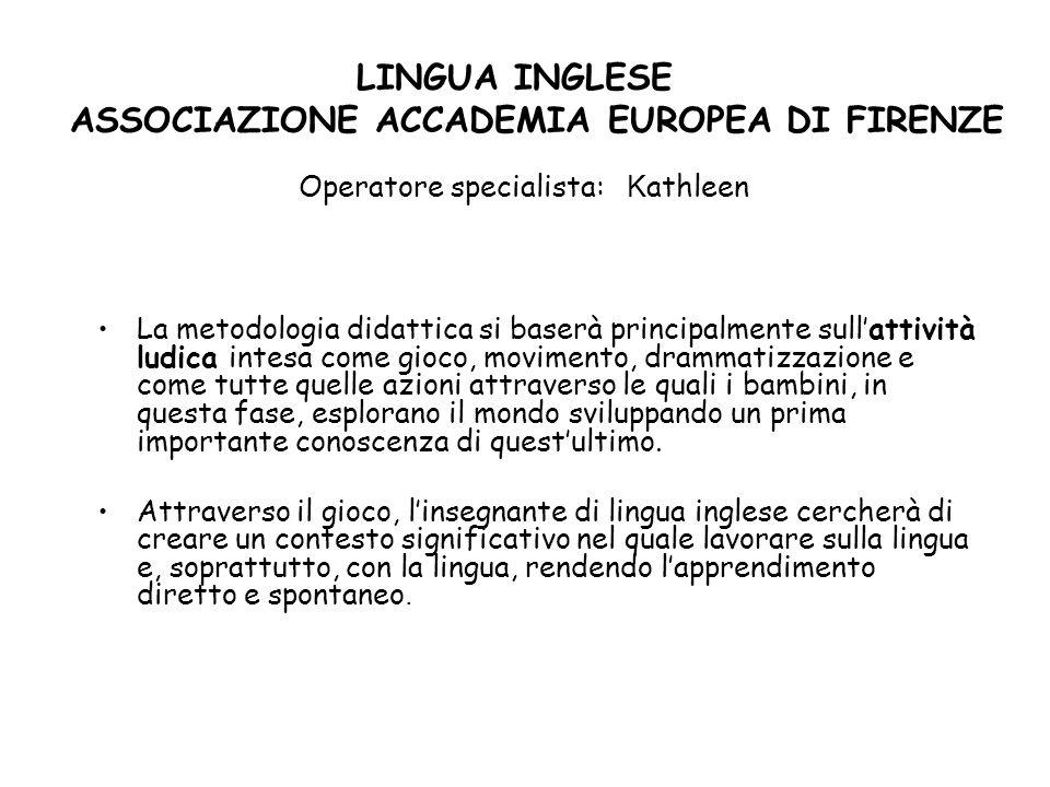 LINGUA INGLESE ASSOCIAZIONE ACCADEMIA EUROPEA DI FIRENZE Operatore specialista: Kathleen