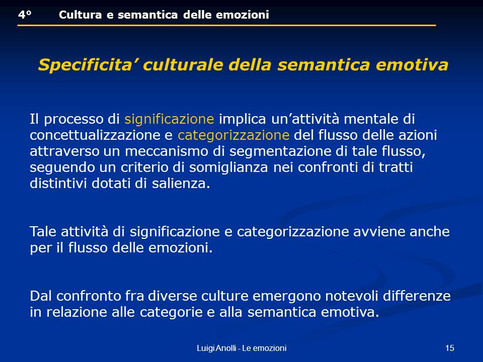 Specificita' culturale della semantica emotiva