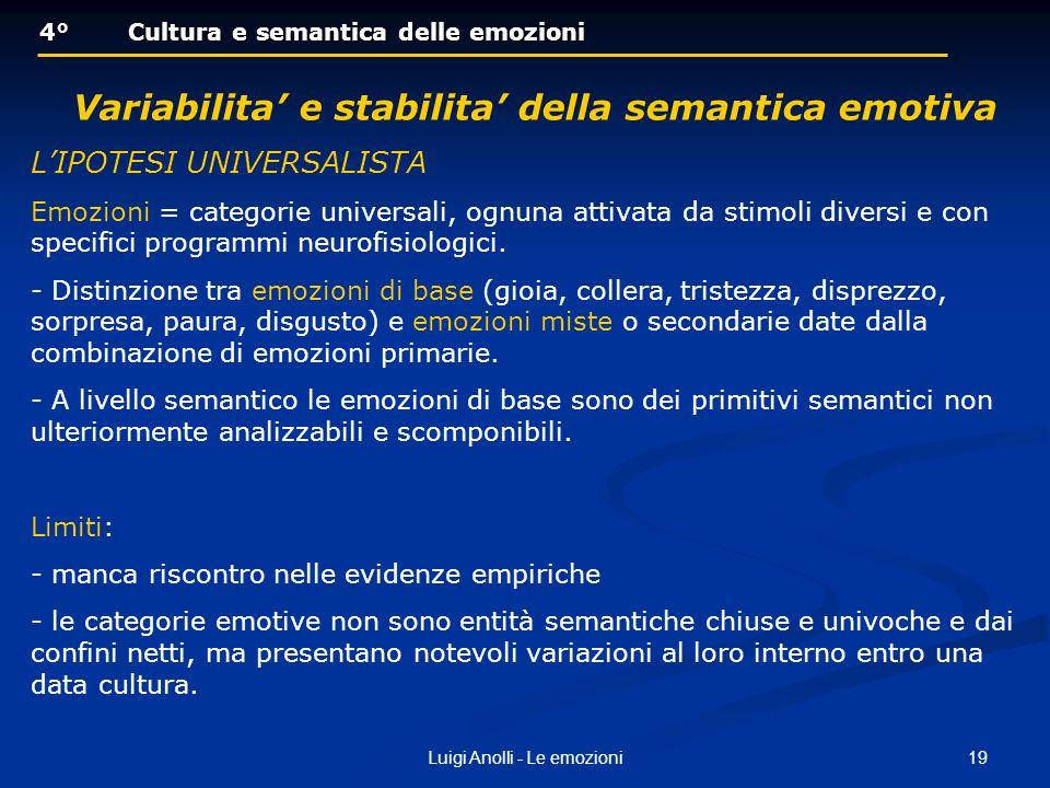 Variabilita' e stabilita' della semantica emotiva