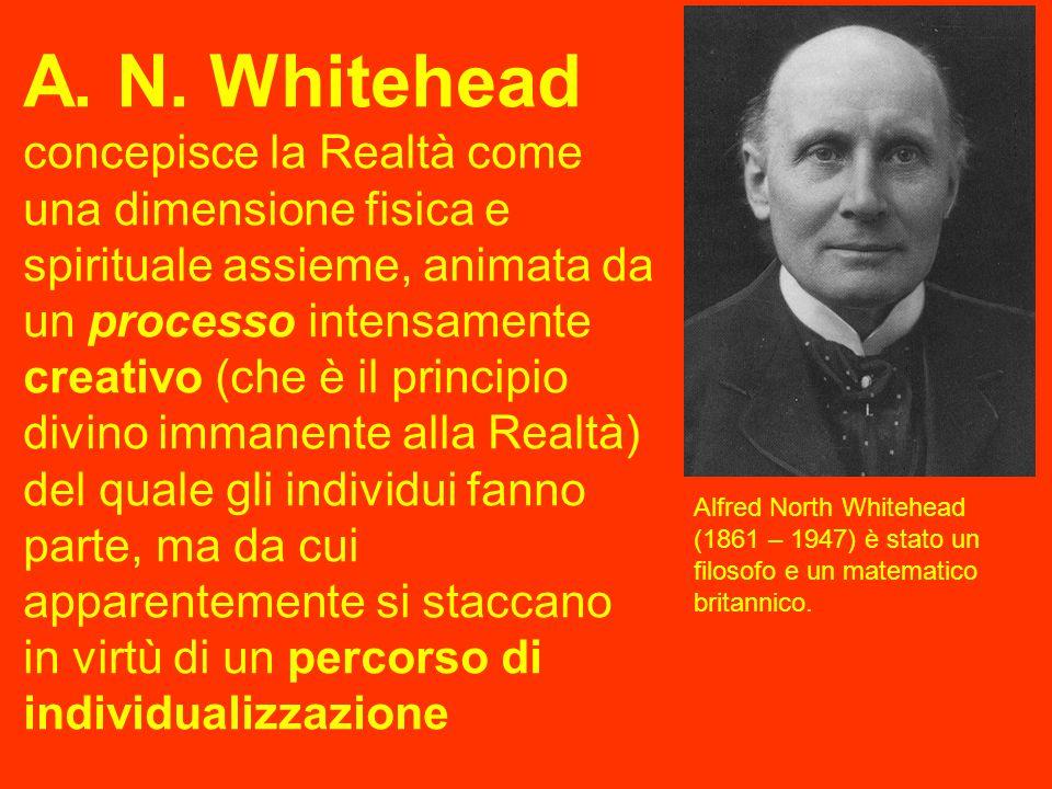 A. N. Whitehead concepisce la Realtà come una dimensione fisica e spirituale assieme, animata da un processo intensamente creativo (che è il principio divino immanente alla Realtà) del quale gli individui fanno parte, ma da cui apparentemente si staccano in virtù di un percorso di individualizzazione