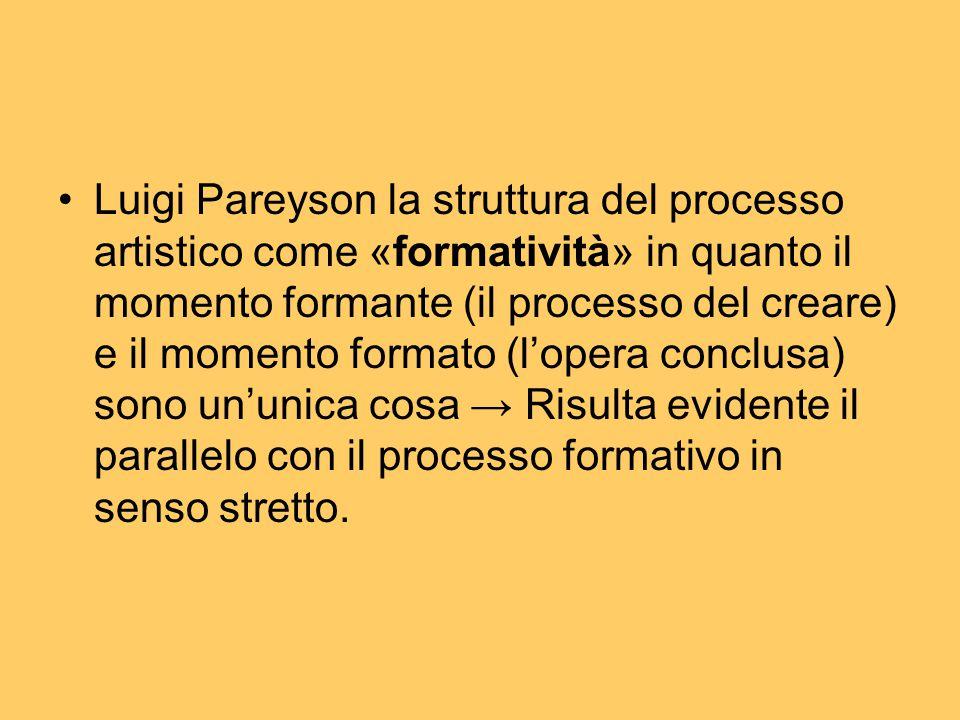 Luigi Pareyson la struttura del processo artistico come «formatività» in quanto il momento formante (il processo del creare) e il momento formato (l'opera conclusa) sono un'unica cosa → Risulta evidente il parallelo con il processo formativo in senso stretto.