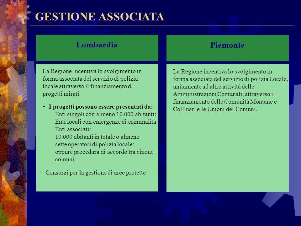 GESTIONE ASSOCIATA Lombardia Piemonte