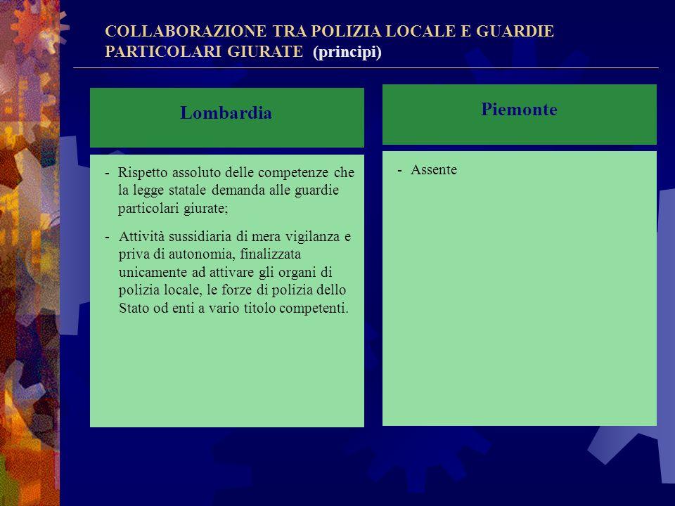 Piemonte Lombardia COLLABORAZIONE TRA POLIZIA LOCALE E GUARDIE