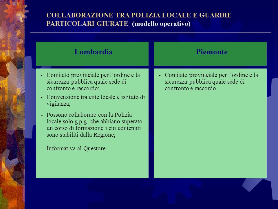 Lombardia Piemonte COLLABORAZIONE TRA POLIZIA LOCALE E GUARDIE