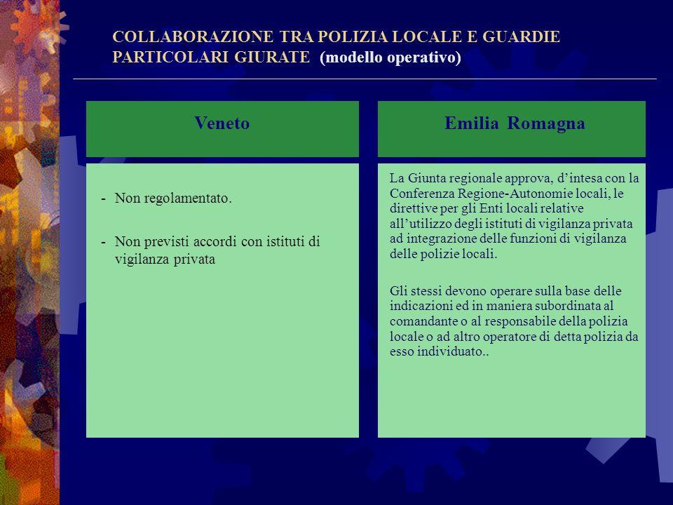 Veneto Emilia Romagna COLLABORAZIONE TRA POLIZIA LOCALE E GUARDIE