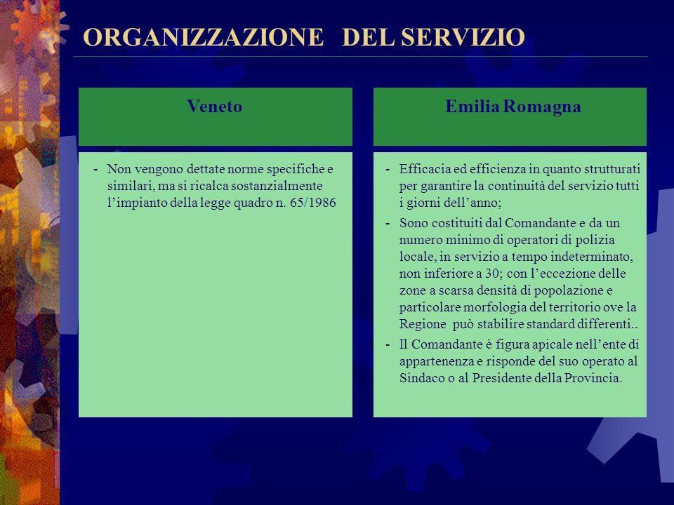 Veneto Emilia Romagna ORGANIZZAZIONE DEL SERVIZIO