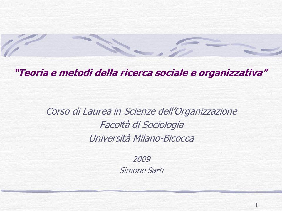 Teoria e metodi della ricerca sociale e organizzativa