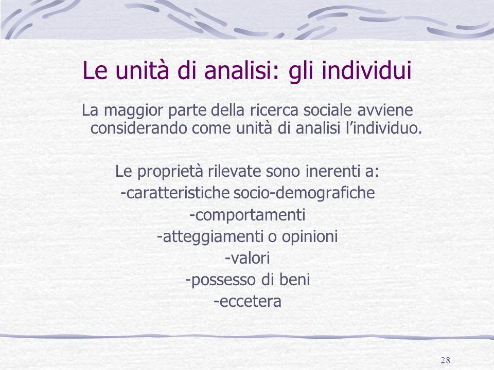 Le unità di analisi: gli individui