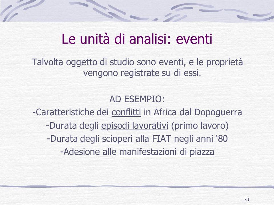 Le unità di analisi: eventi