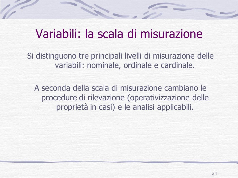 Variabili: la scala di misurazione