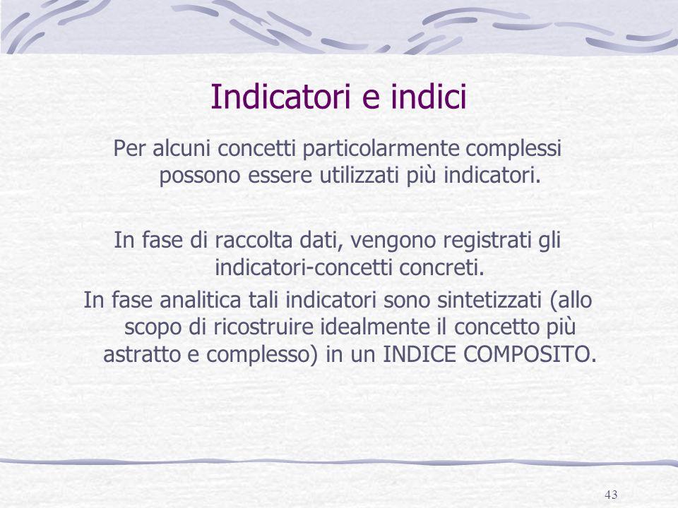 Indicatori e indici Per alcuni concetti particolarmente complessi possono essere utilizzati più indicatori.