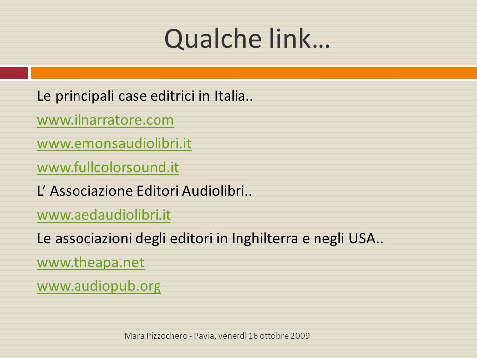 Qualche link…